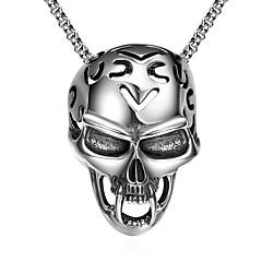 Недорогие Ожерелья-Муж. Стильные Ожерелья с подвесками - Титановая сталь Череп Мода Cool Серебряный 61 cm Ожерелье Бижутерия 1шт Назначение Подарок, Повседневные