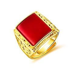 お買い得  指輪-男性用 合成ルビー スタイリッシュ 指輪  -  創造的 ファッション ジュエリー ブラック / レッド / グリーン 用途 日常 パーティー 調整可