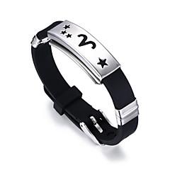 abordables Bijoux pour Femme-Homme Stylé Zodiaque Large bracelet - Acier au titane Etoile, bélier Elégant, Classique, Décontracté / Sport Bracelet Argent Pour Anniversaire Sortie