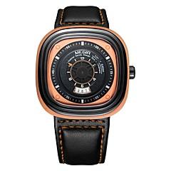 お買い得  メンズ腕時計-MEGIR 男性用 スポーツウォッチ 日本産 クォーツ 30 m 耐水 カレンダー クール レザー バンド ハンズ カジュアル ファッション ブラック - ブラック オレンジ ブルー