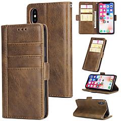 Недорогие Кейсы для iPhone X-Кейс для Назначение Apple iPhone X / iPhone 8 Plus / iPhone XS Кошелек / Бумажник для карт / со стендом Чехол Однотонный Твердый Настоящая кожа для iPhone XS / iPhone XR / iPhone XS Max