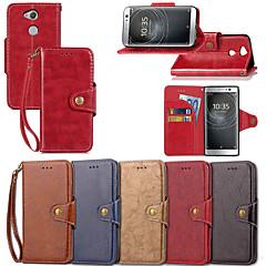 Недорогие Чехлы и кейсы для Sony-Кейс для Назначение Sony Xperia XZ1 Compact / Xperia XZ2 Compact Кошелек / Бумажник для карт / со стендом Чехол Однотонный Твердый Кожа PU для Xperia XZ2 Compact / Xperia XZ1 Compact / Sony Xperia XZ1