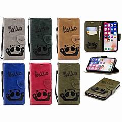 お買い得  iPhone 5S/SE ケース-ケース 用途 Apple iPhone X / iPhone 7 Plus ウォレット / カードホルダー / フリップ フルボディーケース パンダ ハード PUレザー のために iPhone X / iPhone 8 Plus / iPhone 8