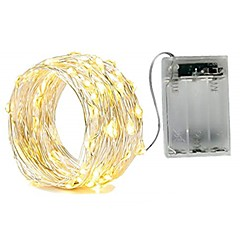 お買い得  LED ストリングライト-2m ストリングライト 20 LED SMD 0603 温白色 / ホワイト / レッド 防水 / パーティー / 装飾用 単3乾電池 1個