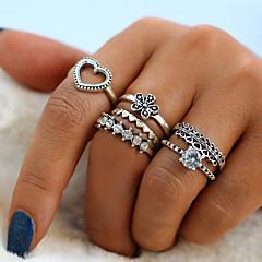 preiswerte Ringe-Damen Kristall Vintage Stil Ring / Ring-Set - Herz, Blume Retro, Modisch 6 Silber Für Alltag / Strasse