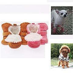 お買い得  犬用ウェア&アクセサリー-犬 シューズ、ブーツ クローズトゥ ソリッド / カートゥン コーヒー / ピンク ペット用