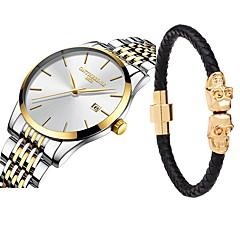 お買い得  メンズ腕時計-男性用 ドレスウォッチ 日本産 クォーツ ブラック / シルバー 30 m 耐水 カレンダー クロノグラフ付き ハンズ ぜいたく エレガント - 黒とゴールド ゴールド / ホワイト ブラック / シルバー 2年 電池寿命 / ステンレス