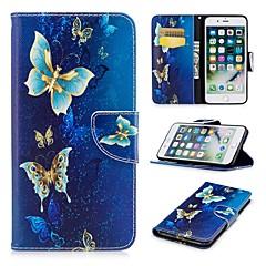 Недорогие Кейсы для iPhone 7 Plus-Кейс для Назначение Apple iPhone 8 Plus / iPhone 7 Plus со стендом / С узором / Магнитный Чехол Бабочка Твердый Кожа PU для iPhone 8 Pluss / iPhone 7 Plus