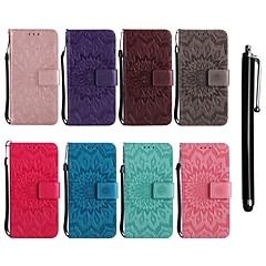Недорогие Чехлы и кейсы для Sony-Кейс для Назначение Sony Xperia Z5 / Xperia M5 Кошелек / Бумажник для карт / со стендом Чехол Цветы Твердый Кожа PU для Sony Xperia Z3 / Sony Xperia Z3 Mini / Sony Xperia Z4