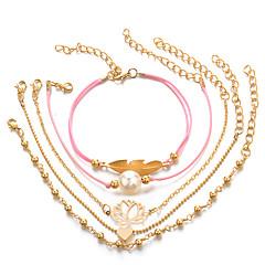 preiswerte Armbänder-Damen Perle Mehrschichtig Ketten- & Glieder-Armbänder Armband mit Anhänger - Blattform, Herz, Lotus Einfach, Punk, Romantisch Armbänder Rosa Für Geschenk Alltag Party