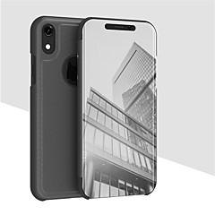 Недорогие Кейсы для iPhone-Кейс для Назначение Apple iPhone XS / iPhone XR со стендом / Покрытие / Зеркальная поверхность Чехол Однотонный Твердый Кожа PU для iPhone XS / iPhone XR / iPhone XS Max