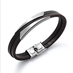 preiswerte Armbänder-Herrn Stilvoll Armband - Leder Kreativ Modisch Armbänder Schwarz / Silber Für Alltag / Büro & Karriere