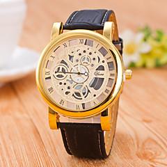 お買い得  メンズ腕時計-男性用 リストウォッチ クォーツ 透かし加工 クリエイティブ カジュアルウォッチ レザー バンド ハンズ ファッション ブラック / ブラウン - 黒とゴールド ゴールデンブラウン ブラック / シルバー