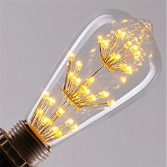 お買い得  LED 電球-1個 3 W 200 lm E26 / E27 フィラメントタイプLED電球 ST64 47 LEDビーズ COB 装飾用 / 星の 温白色 / レッド / ブルー 85-265 V