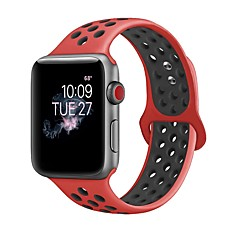 preiswerte Herrenuhren-Silica Gel Uhrenarmband Gurt für Apple Watch Series 3 / 2 / 1 Schwarz / Weiß 23cm / 9 Zoll 2.1cm / 0.83 Inch