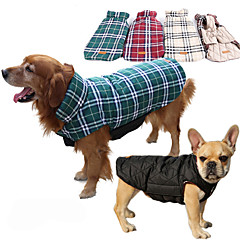 お買い得  犬用ウェア&アクセサリー-犬 コート ベスト 犬用ウェア 格子柄 ベージュ Brown レッド グリーン コットン コスチューム ペット用 男性用 女性用 リバーシブル 保温