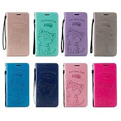 Недорогие Кейсы для iPhone 7-Кейс для Назначение Apple iPhone X / iPhone 8 Кошелек / Бумажник для карт / со стендом Чехол Кот Твердый Кожа PU для iPhone X / iPhone 8 Pluss / iPhone 8