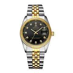 abordables Relojes de Lujo-Hombre Reloj de Pulsera Cuarzo 30 m Calendario Creativo Aleación Banda Analógico Lujo Moda Plata / Dorado - Dorado Negro Plata