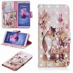 お買い得  Huawei Pシリーズケース/ カバー-ケース 用途 Huawei P20 lite / Huawei P Smart Plus ウォレット / カードホルダー / スタンド付き フルボディーケース 猫 ハード PUレザー のために Huawei P20 / Huawei P20 Pro / Huawei P20 lite