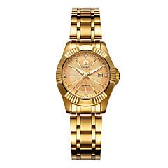 preiswerte Damenuhren-Damen Armbanduhr Quartz 30 m Kalender Legierung Band Analog Freizeit Modisch Gold - Schwarz Silber Rotgold