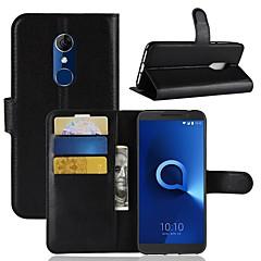 お買い得  その他のケース-ケース 用途 Alcatel Alcatel 3 / Alcatel 1 ウォレット / カードホルダー / フリップ フルボディーケース ソリッド ハード PUレザー のために Alcatel 5044r / Alcatel 3 / Alcatel 3C