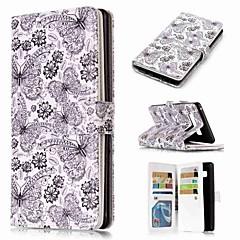 Недорогие Чехлы и кейсы для Galaxy Note 5-Кейс для Назначение SSamsung Galaxy Note 9 / Note 8 / Note 5 Кошелек / Бумажник для карт / со стендом Чехол Бабочка Твердый Кожа PU для Note 9 / Note 8 / Note 5