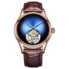 preiswerte Herrenuhren-AngelaBOS Herrn Mechanische Uhr Mechanischer Handaufzug Echtes Leder Bandmaterial Schwarz / Braun 30 m Kreativ Neues Design Armbanduhren für den Alltag Analog Luxus Modisch - Rot Grün Blau