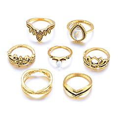 preiswerte Ringe-Damen Retro Knöchel-Ring Ring-Set Multi-Finger-Ring - Tropfen, Lotus, Clover Retro, Boho, überdimensional 7 Gold / Silber Für Geschenk Alltag Strasse / 7tlg