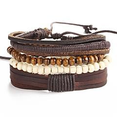 preiswerte Armbänder-Herrn Geflochten Lederarmbänder - Künstlerisch, Einzigartiges Design Armbänder Braun Für Party Strasse / 5 Stück