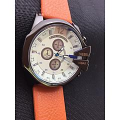 お買い得  メンズ腕時計-男性用 ドレスウォッチ 日本産 クォーツ 耐水 クロノグラフ付き 大きめ文字盤 ステンレス レザー バンド ハンズ ぜいたく バングル ブラック / シルバー / ブラウン - シルバー /  ブラック オレンジ / ブラック ホワイト / ベージュ 2年 電池寿命