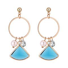 お買い得  イヤリング-女性用 幾何学模様 ドロップイヤリング  -  人造真珠 シンプル, 欧風, ファッション ホワイト / レッド / ライトブルー 用途 カジュアル 日常