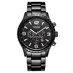 お買い得  メンズ腕時計-CURREN 男性用 ドレスウォッチ 日本産 日本産クォーツ ブラック / シルバー 30 m 耐水 カレンダー カジュアルウォッチ ハンズ ぜいたく ファッション - ブラック シルバー