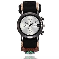 preiswerte Herrenuhren-Herrn Armbanduhr Quartz Armbanduhren für den Alltag Cool Stoff Band Analog Freizeit Modisch Schwarz / Blau / Grün - Beige Grün Blau Ein Jahr Batterielebensdauer