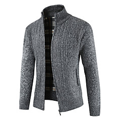 cheap Men's Sweaters & Cardigans-Men's Daily Solid Colored Long Sleeve Regular Cardigan Red / Dark Gray / Light gray XL / XXL / XXXL