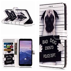 Недорогие Чехлы и кейсы для Huawei Mate-Кейс для Назначение Huawei Mate 10 lite / Mate 9 Pro Кошелек / Бумажник для карт / со стендом Чехол С собакой Твердый Кожа PU для Mate 10 / Mate 10 pro / Mate 10 lite