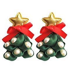 abordables Bijoux pour Femme-Femme 3D Boucles d'oreille goujon - Imitation de perle, Cuir Arbre de Noël Elégant, Artistique Vert Pour Noël