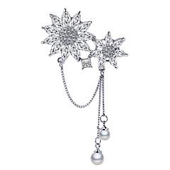 お買い得  ブローチ-女性用 キュービックジルコニア タッセル ブローチ  -  真珠, 銀メッキ スノーフレーク 韓国語 ブローチ シルバー 用途 日常