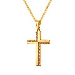 preiswerte Halsketten-Damen Klar Kubikzirkonia Klassisch Anhängerketten - Kreuz Klassisch Gold, Silber 55 cm Modische Halsketten Schmuck 1pc Für Geschenk, Alltag