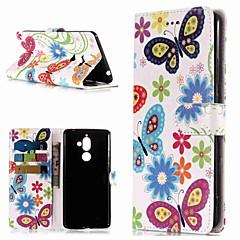 Недорогие Чехлы и кейсы для Nokia-Кейс для Назначение Nokia Nokia 7 Plus / Nokia 6 2018 Кошелек / Бумажник для карт / со стендом Чехол Бабочка Твердый Кожа PU для Nokia 7 Plus / Nokia 6 2018 / Nokia 1