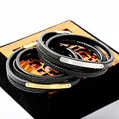 preiswerte Armbänder-Herrn Wickelarmbänder Lederarmbänder - Leder Modisch Armbänder Gold / Silber Für Alltag Ausgehen