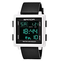 お買い得  メンズ腕時計-SANDA 男性用 スポーツウォッチ 日本産 デジタル 30 m 耐水 カレンダー 2タイムゾーン シリコーン バンド デジタル ファッション ブラック - ブラック ブラック / ホワイト