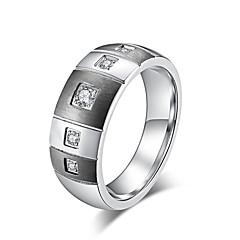 preiswerte Ringe-Damen Weiß Kubikzirkonia Klassisch Bandring Ring - Rostfrei Stilvoll, Grundlegend, Modisch 7 / 8 / 9 / 10 / 11 Gold / Schwarz Für Geburtstag Valentinstag