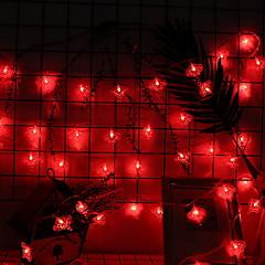 お買い得  LED ストリングライト-4m ストリングライト 40 LED レッド 装飾用 単3乾電池 1セット