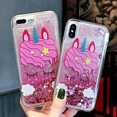 Недорогие Кейсы для iPhone-Кейс для Назначение Apple iPhone XR / iPhone XS Max Защита от удара / Движущаяся жидкость / Прозрачный Кейс на заднюю панель единорогом / Сияние и блеск Твердый ПК для iPhone XS / iPhone XR / iPhone
