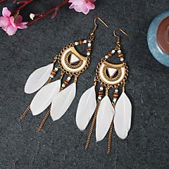 preiswerte Ohrringe-Damen Klassisch Tropfen-Ohrringe - Feder, Spitze Quaste, Retro, Ethnisch Schwarz / Rot / Blau Für Zeremonie Karnival