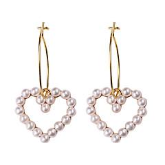 abordables Pendientes-Mujer Hueco Pendients de aro - Perla Artificial Corazón Simple, Dulce, Moda Dorado Para Fiesta Cita