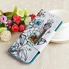 Недорогие Кейсы для iPhone-Кейс для Назначение Apple iPhone 7 Plus Кошелек / Бумажник для карт / Флип Кейс на заднюю панель Цветы Твердый Кожа PU для iPhone 7 Plus