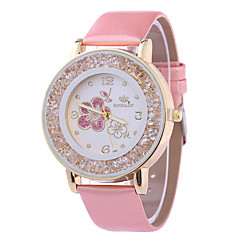 preiswerte Damenuhren-Damen Armbanduhr Quartz Armbanduhren für den Alltag PU Band Analog Blume Glanz Weiß / Braun / Rosa - Purpur Braun Rosa