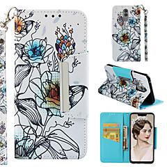 Недорогие Чехлы и кейсы для Huawei Mate-Кейс для Назначение Huawei Mate 10 lite / Huawei Mate 20 Lite Кошелек / Бумажник для карт / со стендом Чехол Цветы Твердый Кожа PU для P smart / Honor 7C(Enjoy 8) / Huawei Honor 9i