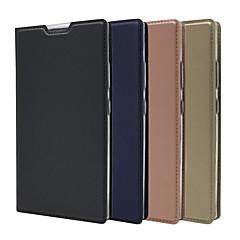 Недорогие Чехлы и кейсы для Sony-Кейс для Назначение Sony Xperia XA2 Ultra / Xperia XZ2 Premium Бумажник для карт / со стендом / Флип Чехол Однотонный Твердый Кожа PU для Sony Xperia Z5 / Z5 Mini / Sony Xperia XZ2 Premium
